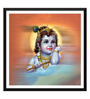 Tallenge Paper 18 x 0.5 x 18 Inch Baby Krishna with Flute Painting Framed Digital Poster