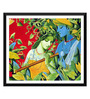 Tallenge Paper 18 x 0.5 x 18 Inch Enchanting Krishna with Radha Playing Flute Framed Digital Poster