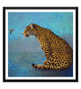Tallenge Paper 18 x 0.5 x 18 Inch Leopard with The Hummingbird Framed Digital Poster