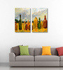 Tallenge Vinyl 18 x 0.5 x 24 Inch Oil Painting of Glass Bottles Premium Quality Ready to Hang Framed Art Panels - Set of 2