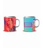 Tangerine Desi Beats Porcelain 250 ML Mugs - Set of 2