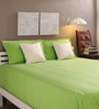 Tangerine Green Cotton King Size Bed Sheets - Set of 3