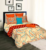 Tangerine Turq Tango Orange Cotton Abstract 100 x 90 Inch Bed Sheet Set
