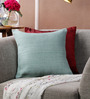 Tasar Turquoise Pure Silk 16 x 16 Inch Coconut Buttoned Cushion Cover