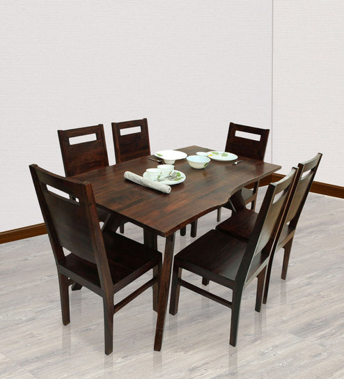Temecula Six Seater Dining Set In Dark Walnut Finish By The ArmChair