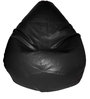 Teardrop Bean Bag (With Beans) in Black Colour by Feel Good