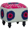 Upasri Pouffe with Embroidered Fabric by Mudramark
