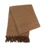 Tezerac Brown Cotton Geometric Throw