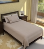Tezerac Brown Cotton Solid 88 x 59 Inch Bed Sheet (with Pillow Cover)