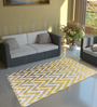 Tezerac Golden Cotton 71 x 47 Inch Zigzag Rectangular Area Rug