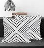 Tezerac Grey & Black Oslo Cotton 16 x 16 Inch Cushion Cover