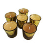 Tezerac Mercury Golden Glass Jasmine Wax Candle - Set of 6