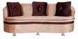 Three Seater Sofa in Beige & Brown Velvet by Karigar