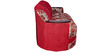 Three Seater Sofa in Red Shanil Fabric by Karigar