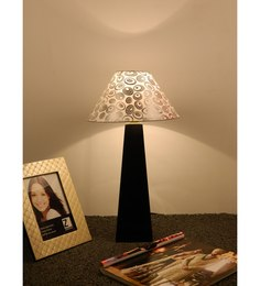 The Lamp Store White & Silver Poly Cotton Lamp Shade - 1492807