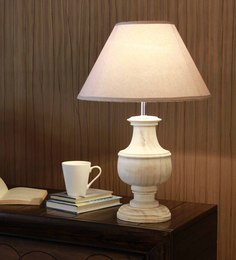 The Light Store Off White Cotton Table Lamp - 1588311