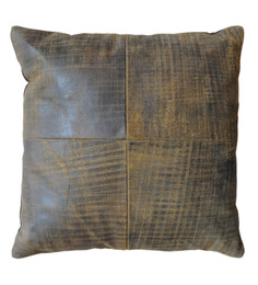 The Rug Republic Brown & Black Leather 18 x 18 Inch Chivaso Cushion Cover with Insert