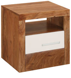 Thor Bed Side Table in Oak & White Colour by @home
