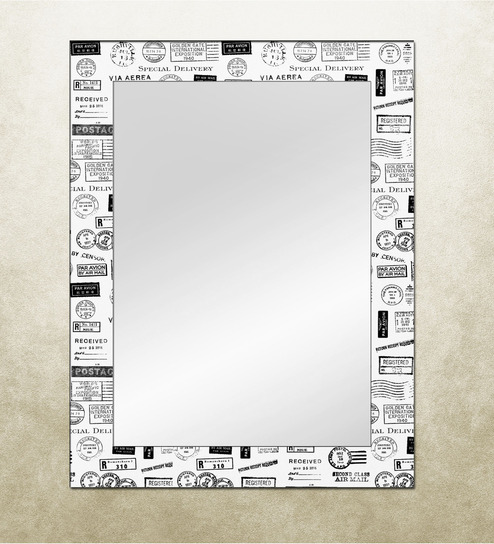 The Attic White MDF Moroni Postage Framed Mirror