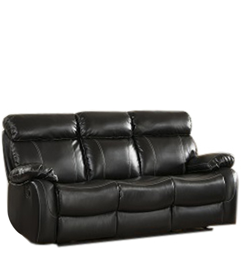 Three Seater Pure Leather Recliner Sofa In Black Colour By