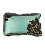 The Decor Mart Aqua & Brown Poly Dupyon 11 x 19 Inch Cushion Cover with Insert