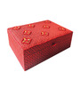 The Decor Mart Beaded Fabric Red Jewellery Box