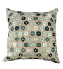 The Decor Mart Green & Beige Cotton 17 x 17 Inch Embroidered Cushion Cover with Insert