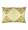 The Decor Mart Off-white & Green Polyester 13 x 19 Inch Cushion Cover with Insert