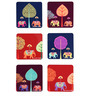 The Elephant Company MDF Coasters Elephant Carnival Motifs - Set of 6