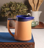 The Himalayan Goods Company Orange and Aqua Ceramic Stoneware 1.3 L Pitcher