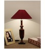 The Lamp Store Maroon Poly Cotton Classic Table Lamp