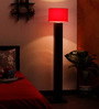 The Light House Red Circular Shade Wood Floor Lamp