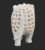 The Nodding Head White Marble Medium Jalicut Elephant Figurine Showpiece