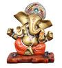 The Nodding Head Golden Polyresin Ganesha Sitting on Wooden Base in Orange Dhoti