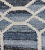 The Rug Republic Blue & Ivory Denim & Wool Geometric Hand Woven Area Rug