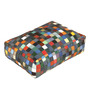 The Rug Republic Multicolour Recycled Leather 24 x 18  Inch Tuscan Floor Cushion Cover with Insert