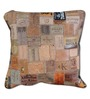 The Rug Republic Multicolour Leather 18 x 18 Inch Marlboro Recycled Labels Cushion Cover with Insert