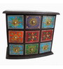 The Shopy Multicolour MDF Vintage Table Top Collectible with 9 Drawers