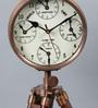The Yellow Door Brown Brass & Wood 9 x 7 x 19 Inch Tripod Clock