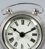 The Yellow Door Silver Glass & Stainless Steel 4.5 x 2 x 4 Inch Vintage Desk Clock