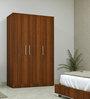 Three Door Compact Wardobe in PLPB with Classic Walnut Finish by Primorati