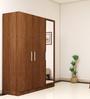 Three Door Wardrobe with Mirror in Viking Teak finish in Ply Ply by Primorati