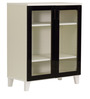 Keiko Three Shelf Shoe cum Storage Cabinet in Black and White Finish by Mintwud
