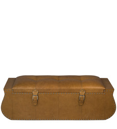 Timeless Camel Storage Ottoman in Tan Leather by ThreeSixtyDegree