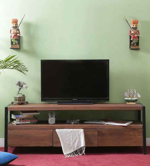 Tiber Entertainment Unit In Premium Acacia Finish By Woodsworth