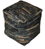 Tiago Hand-Made Pouffe in Dark Brown Colour by The Rug Republic