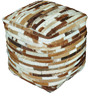 Tiago Hand-Made Pouffe in Medium & Brown Color by The Rug Republic