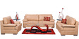 Toby Leatherette Sofa Set (3 + 2 + 1) Seater in Beige Colour by Home City