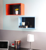 Moncalieri Set Of 2 Wall Shelf  In Orange And Blue By Casacraft