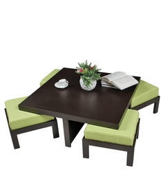 Trendy Coffee Table with Four Green Cushioned Stools by ARRA